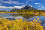 Mt. Rundle reflected in Vermillion Lake in autumn<br /> Banff National Park<br /> Alberta<br /> Canada