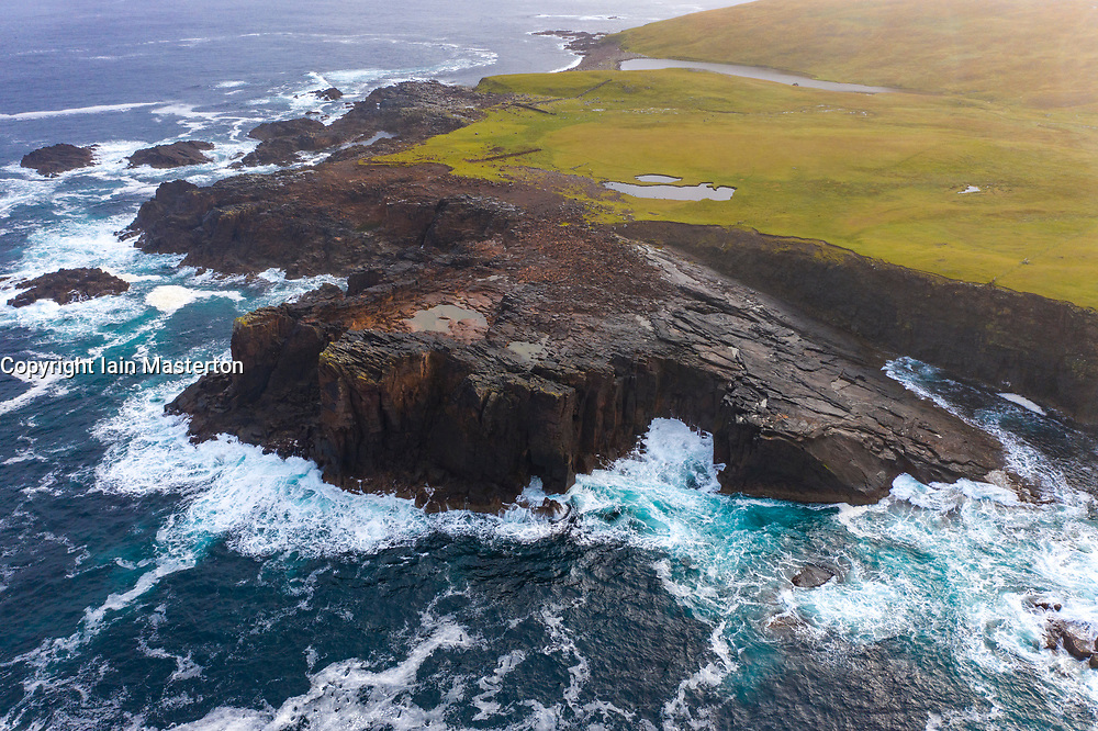 Dramatic pyroclastic ash rock formation at Grind o' Da Navir, on coast at Eshaness, Northmavine, north mainland, Shetland Islands, Scotland, UK