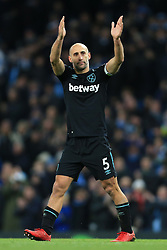 3rd December 2017 - Premier League - Manchester City v West Ham United - Pablo Zabaleta of West Ham applauds the home fans after the match - Photo: Simon Stacpoole / Offside.