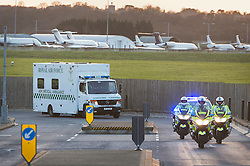 © Licensed to London News Pictures. 23/02/2016. London, UK. Nurse Pauline Cafferkey is taken in from RAF Northolt in a police escorted ambulance.  The Scottish nurse contracted the Ebola virus in Sierra Leone in 2014 and has been admitted to the Royal Free hospital in London with the condition twice before .  Photo credit: Peter Macdiarmid/LNP