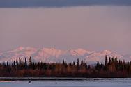 The Alaska Range and the frozen Tanana River, Nenana, Alaska
