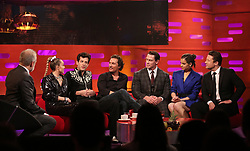 (left to right) Host Graham Norton, Miley Cyrus, Mark Ronson, Matthew McConaughey, John Cena, Hailee Steinfeld, and Jamie Oliver, during the filming for the Graham Norton Show at BBC Studioworks 6 Television Centre, Wood Lane, London, to be aired on BBC One on Friday evening. PRESS ASSOCIATION. Picture date: Thursday December 6, 2018. Photo credit should read: PA Images on behalf of So TV