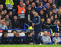 Football - 2018 / 2019 UEFA Europa League - Semi-Final, Second Leg: Chelsea (1) vs. Eintracht Frankfurt (1)<br /> <br /> Chelsea head coach Maurizio Sarri checks his watch during extra time, at Stamford Bridge.<br /> <br /> COLORSPORT/ASHLEY WESTERN