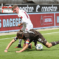 nph0001:  17.05.2020 --- Fussball --- Saison 2019 2020 --- 2. Fussball - Bundesliga --- 26. Spieltag: FC Sankt Pauli - 1. FC Nürnberg ---   DFL regulations prohibit any use of photographs as image sequences and/or quasi-video - Only for editorial use ! --- <br /> <br /> Robin Hack (17, 1. FC Nürnberg ) Daniel Buballa (15, FC St. Pauli ) <br /> <br /> Foto: Daniel Marr/Zink/Pool//via Kokenge/nordphoto