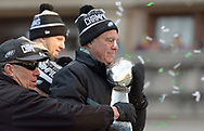 Eagles owner Jeffrey Lurie celebrates the team's Super Bowl LII win during a parade Feb. 8, 2018, in front of millions of fans in downtown Philadelphia, Pennsylvania. (Photo by Matt Smith)