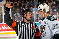 KELOWNA, BC - SEPTEMBER 28:  Referee Matt Hicketts speaks to Wyatte Wylie #29 of the Everett Silvertips on the ice against the Kelowna Rockets at Prospera Place on September 28, 2019 in Kelowna, Canada. (Photo by Marissa Baecker/Shoot the Breeze)