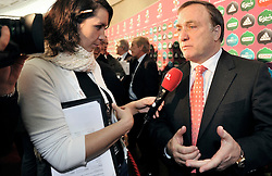 (R) DICK ADVOCAAT DUTCH COACH OF BELGIUM WITH JOURNALIST AFTER THE UEFA EURO 2012 QUALIFYING DRAW IN PALACE SCIENCE AND CULTURE IN WARSAW, POLAND..THE 2012 EUROPEAN SOCCER CHAMPIONSHIP WILL BE HOSTED BY POLAND AND UKRAINE...WARSAW, POLAND , FEBRUARY 07, 2010.( PHOTO BY ADAM NURKIEWICZ / MEDIASPORT / SPORTIDA.COM ).