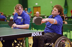 Disability Sport England Athletics Championships 2003 games; disabled athletes taking part in a table tennis event,