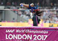 Athletics - 2017 IAAF London World Athletics Championships - Day Two (AM Session)<br /> <br /> Event: High Jump Women - Heptathlon<br /> <br /> Erica Bougard (USA) clears the high jump bar <br /> <br /> COLORSPORT/DANIEL BEARHAM