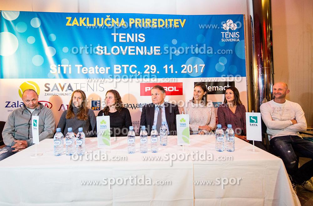 Slovenian FED Cup team prior to the Slovenian Tennis personality of the year 2017 annual awards presented by Slovene Tennis Association Tenis Slovenija, on November 29, 2017 in Siti Teater, Ljubljana, Slovenia. Photo by Vid Ponikvar / Sportida