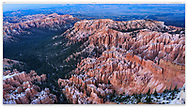 Inspiration Point at Bryce Canyon National Park in the dark glow of twilight after sunset, Utah, USA