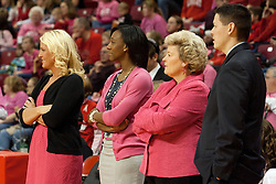 12 February 2012:  Sheila Roux, Danielle Santos, Stephanie Glance, and Ryan Bragdon during an NCAA women's basketball game Where the Bradley Braves lost to the Illinois Sate Redbirds 82-63.  It was Play 4Kay day in honor of the cancer research fund set up by Coach Kay Yow at Redbird Arena in Normal IL