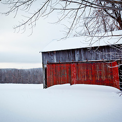 An old farm shed in winter in a field in Windsor, Massachusetts. Notchview Reservation. The Trustees of Reservations.