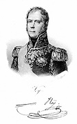 Michel Ney  (1769-1815) French soldier. One of Napoleon's marshals.Led French centre at Waterloo. Condemned to death for high treason and shot.  Lithograph c1820