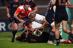 England Women's Sarah Bern (centre) scores her side's first try during the 2017 Women's World Cup, Semi Final match at the Kingspan Stadium, Belfast.