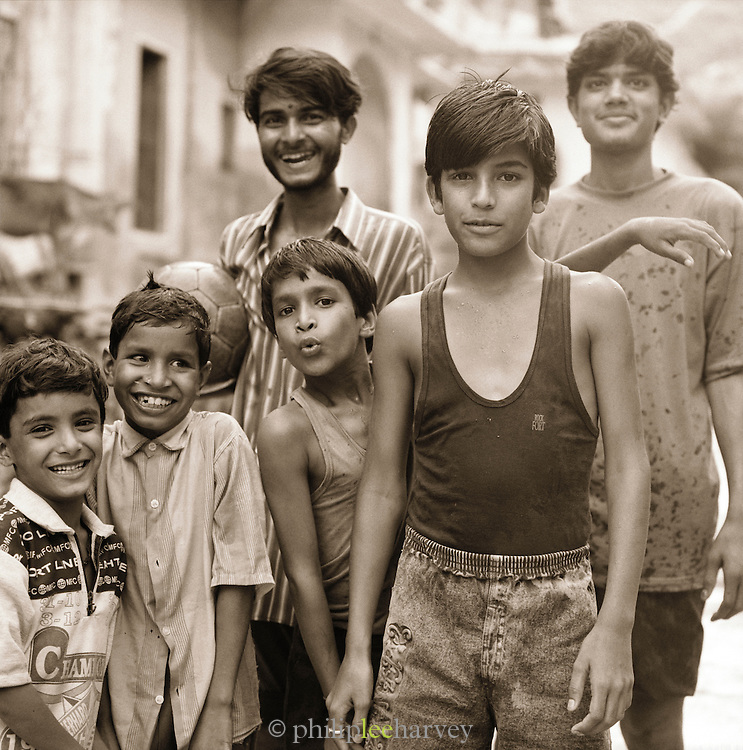 Local youths playing football, Jaipur, Rajahstan, India