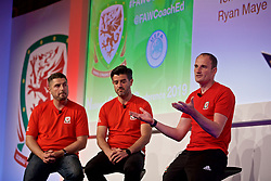 NEWPORT, WALES - Friday, May 24, 2019: Ryan Maye (L), Tom Ramasut (C) and Dave Adams (R) during day one of the Football Association of Wales National Coaches Conference 2019 at the Celtic Manor Resort. (Pic by David Rawcliffe/Propaganda)