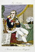 Napoleon Bonaparte (1769-1821). Contemporary French cartoon on Napoleon's extravagant spending.