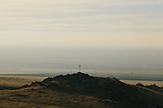 A thick haze over the valley can be seen from the Eastern foothills south of Bakersfield.
