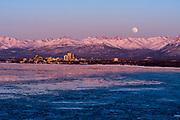 Anchorage, Knik Arm, Chugach Mountains and the moon.