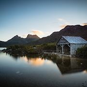 Boathouse on Dove Lake at sunset