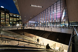 Exterior of new Centraal Station at night in Rotterdam, The Netherlands