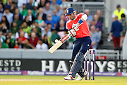 Alex Hales hits a four during the International T20 match between England and Pakistan at the Emirates, Old Trafford, Manchester, United Kingdom on 7 September 2016. Photo by Craig Galloway.