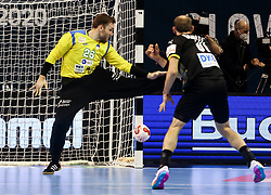 Klemen Ferlin of Slovenia vs Marcel Schiller of Germany during handball match between National Teams of Germany and Slovenia at Day 2 of IHF Men's Tokyo Olympic  Qualification tournament, on March 13, 2021 in Max-Schmeling-Halle, Berlin, Germany. Photo by Vid Ponikvar / Sportida
