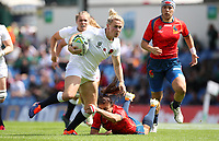 Rugby Union - 2017 Women's Rugby World Cup (WRWC) - Pool B: England vs. Spain<br /> <br /> Megan Jones of England skips a tackle at the UCD Bowl, Dublin.<br /> <br /> COLORSPORT/LYNNE CAMERON