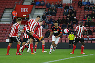 Southampton Florin Gardos clears during the Barclays U21 Premier League match between U21 Southampton and U21 Manchester United at the St Mary's Stadium, Southampton, England on 25 April 2016. Photo by Phil Duncan.