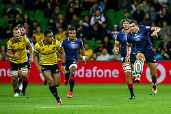 March 30, 2018 - Melbourne, Australia - Jack Debreczeni of the Melbourne Rebels  kicks the ball during Round 7 of the Super Rugby Series between the Melbourne Rebels and the Wellington Hurricanes on March 30, 2018, at AAMI Park in Melbourne, Australia. (Credit Image: © Jason Heidrich/Icon SMI via ZUMA Press)