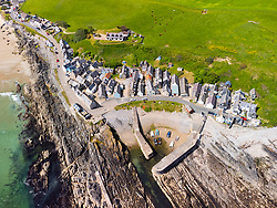 Aerial view from drone of  village of Sandend on Moray Firth in Aberdeenshire, Scotland, UK