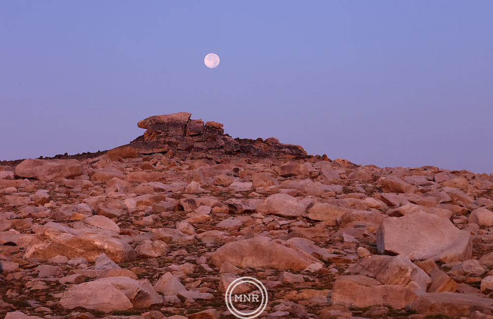 The Moon over Part of the Beartooth Plateau in Wyoming.
