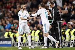 (l-r) Karim Benzema of Real Madrid, Gareth Bale of Real Madrid during the UEFA Champions League round of 16 match between Real Madrid and Paris Saint-Germain at the Santiago Bernabeu stadium on February 14, 2018 in Madrid, Spain