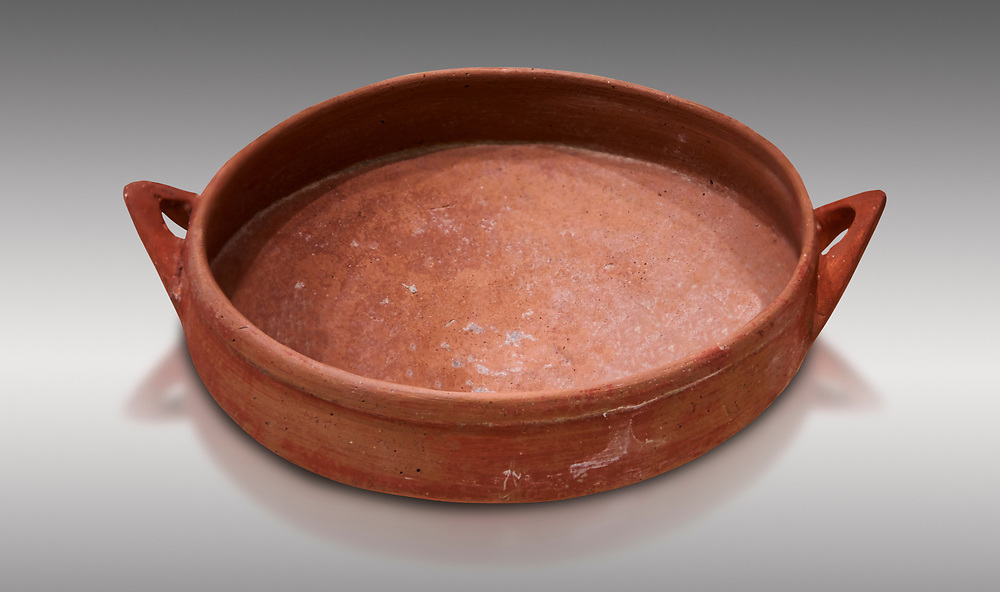 Hittite terra cotta bowl. Hittite Old Period, 1650 - 1450 BC.  Hattusa Boğazkale. Çorum Archaeological Museum, Corum, Turkey .<br />  <br /> If you prefer to buy from our ALAMY STOCK LIBRARY page at https://www.alamy.com/portfolio/paul-williams-funkystock/hittite-art-antiquities.html  - Type Hattusa into the LOWER SEARCH WITHIN GALLERY box. Refine search by adding background colour, place,etc<br /> <br /> Visit our HITTITE PHOTO COLLECTIONS for more photos to download or buy as wall art prints https://funkystock.photoshelter.com/gallery-collection/The-Hittites-Art-Artefacts-Antiquities-Historic-Sites-Pictures-Images-of/C0000NUBSMhSc3Oo