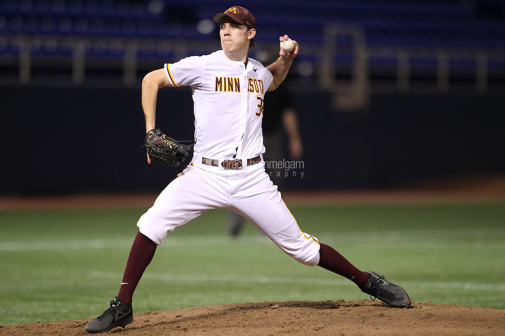 Minnesota Golden Gophers pitcher Tom Windle #38 pitches during a game against the Indiana State Sycamores at the Metrodome on March 15, 2013 in Minneapolis, Minnesota. (Brace Hemmelgarn)