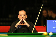Mark Williams of Wales looks on during his 1st round match against Elliot Slessor of England.  Coral Welsh Open Snooker 2017, day 2 at the Motorpoint Arena in Cardiff, South Wales on Tuesday 14th February 2017.<br /> pic by Andrew Orchard, Andrew Orchard sports photography.