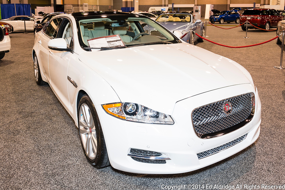 CHARLOTTE, NORTH CAROLINA - NOVEMBER 20, 2014: Jaguar XJ sedan on display during the 2014 Charlotte International Auto Show at the Charlotte Convention Center.