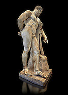End of 2nd century beginning of 3rd century AD Roman marble sculpture of Hercules at rest copied from the second half of the 4th century BC Hellanistic Greek original,  inv 6001, Farnese Collection, Museum of Archaeology, Italy, black background ..<br /> <br /> If you prefer to buy from our ALAMY STOCK LIBRARY page at https://www.alamy.com/portfolio/paul-williams-funkystock/greco-roman-sculptures.html . Type -    Naples    - into LOWER SEARCH WITHIN GALLERY box - Refine search by adding a subject, place, background colour, etc.<br /> <br /> Visit our ROMAN WORLD PHOTO COLLECTIONS for more photos to download or buy as wall art prints https://funkystock.photoshelter.com/gallery-collection/The-Romans-Art-Artefacts-Antiquities-Historic-Sites-Pictures-Images/C0000r2uLJJo9_s0