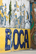 Painted sign and mural, La Boca, Buenos Aires, Argentina, South America