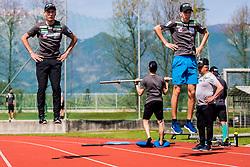 Zak Mogel and Anze Lanisek of national ski jumping team during training of Slovenian Ski Jumping team, on April 25th, 2019 in Sports Park Kranj, Kranj, Slovenia. Photo by Grega Valancic / Sportida