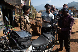 Side of the road machine shop stop to repair my sissy bar on day-4 of our Himalayan Heroes adventure riding from Pokhara to Kalopani, Nepal. Friday, November 9, 2018. Photography ©2018 Michael Lichter.