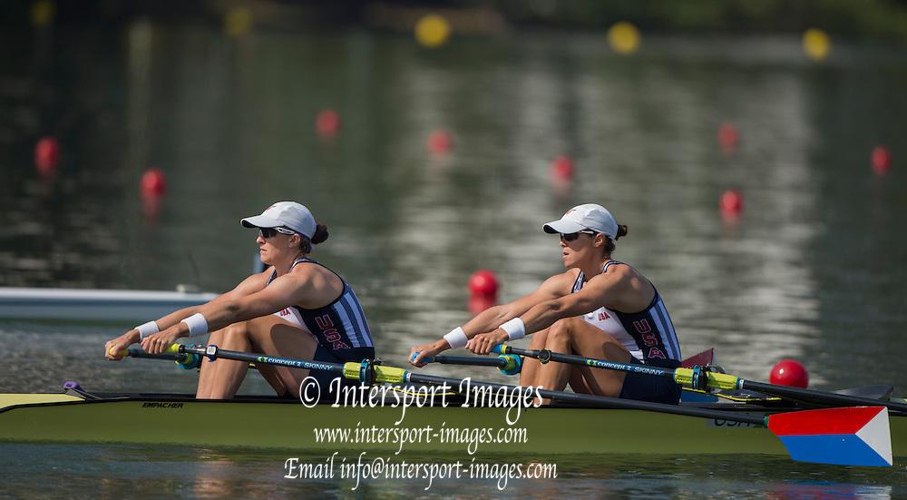 "Rio de Janeiro. BRAZIL.  USA W2X. Bow. Meghan . O'LEARY, and Ellen TOMEK.<br />  2016 Olympic Rowing Regatta. Lagoa Stadium,<br /> Copacabana,  ""Olympic Summer Games""<br /> Rodrigo de Freitas Lagoon, Lagoa.   Tuesday  09/08/2016 <br /> <br /> [Mandatory Credit; Peter SPURRIER/Intersport Images]"
