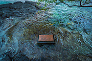 Plaque marking the spot where Captain James Cook was killed, Kealakekua Bay, Kona Coast, Hawaii USA