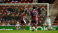 Photo: Jed Wee.<br /> Middlesbrough v Crystal Palace. Carling Cup. 30/11/2005.<br /> <br /> Middlesbrough goalkeeper Mark Schwarzer (R) cannot believe it as team mate Franck Queudrue (L) puts the ball into his own net to give Crystal Palace the lead.