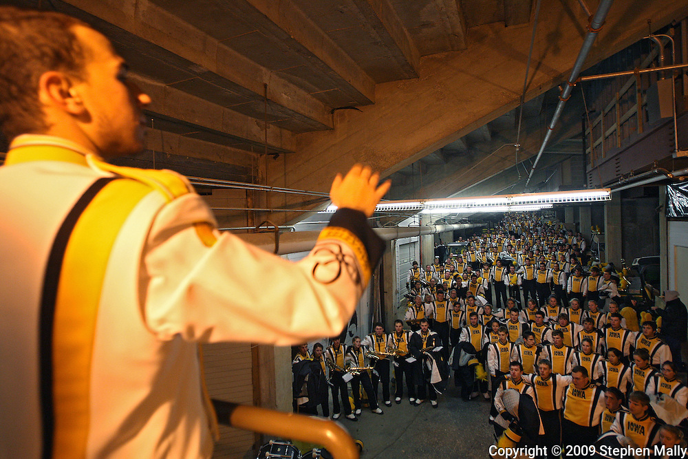 October 31, 2009: The Iowa Marching Band sings in the tunner before the Iowa Hawkeyes' 42-24 win over the Indiana Hoosiers at Kinnick Stadium in Iowa City, Iowa on October 31, 2009.