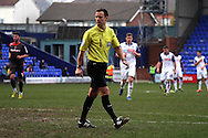 Referee Mr Stuart Attwell. Skybet football league 1 match, Tranmere Rovers v Carlisle United at Prenton Park in Birkenhead, England on Saturday 29th March 2014.<br /> pic by Chris Stading, Andrew Orchard sports photography.