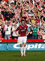 Photo: Paul Greenwood.<br />Sheffield United v West Ham United. The Barclays Premiership. 14/04/2007.<br />West Ham's dejected George McCartney in front of celebrating Sheffield United fans