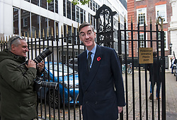 © Licensed to London News Pictures. 04/11/2019. London, UK. JACOB REES MOGG leaves Conservative Party headquarters in Westminster, central London. A general election has been called on December 12th in an attempt to get a Brexit agreement through parliament. Photo credit: Ben Cawthra/LNP