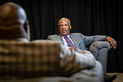Board of Trustee Chairman Timothy King chats with T.D. Jakes before the North Carolina Agricultural and Technical State University's spring Chancellor's Speaker Series on Thursday, April 11, 2019.<br /> <br /> (Chris English/Tigermoth Creative)